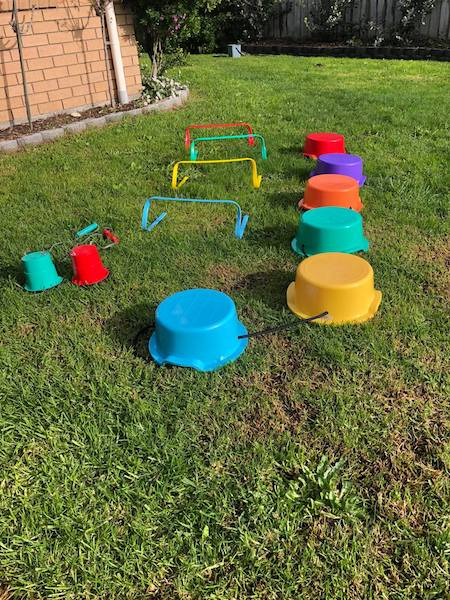 Balance buckets, hurdles, stilts photo